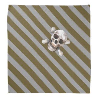 Bandana Crâne et os croisés de rayure pirate n W d'or