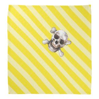 Bandana Crâne jaune et os croisés de w de rayure de pirate
