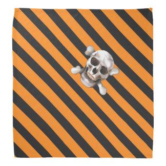 Bandana Crâne noir et os croisés de w de rayure de pirate