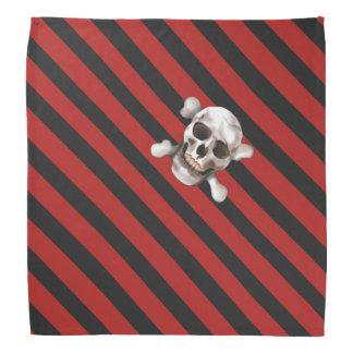 """Bandana """"Le pirate noir de n crâne rouge et os croisés"""