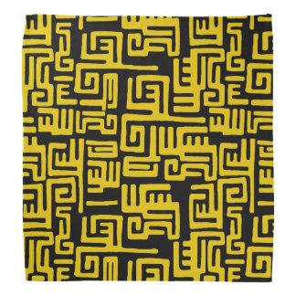 Bandana Motif tribal d'Africain noir jaune minimal