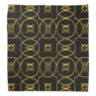 Bandana Noir et élégant brillant de motif géométrique d'or