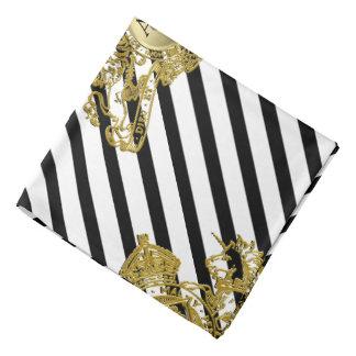 Bandana Poche noire de revers d'emblème de lion d'or blanc