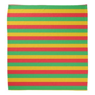 Bandana Rayures rouges, vertes et d'or