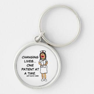 Bande dessinée changeante d'infirmière de la vie porte-clé rond argenté
