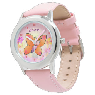 Bande dessinée colorée mignonne de papillon montres