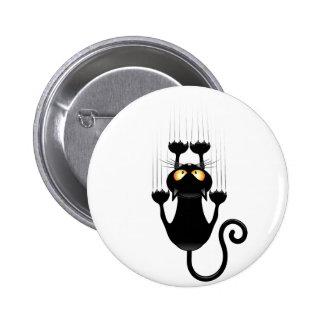 Bande dessinée drôle de chat noir rayant le mur badge rond 5 cm