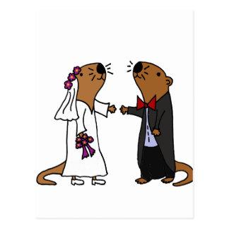 Bande dessinée drôle de mariage de loutre carte postale