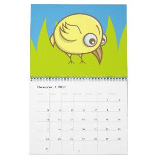 Bande dessinée jaune d'oiseau calendriers