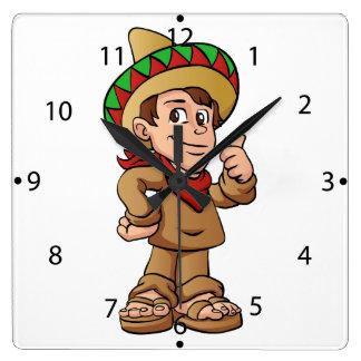bande dessinée mexicaine d'enfant horloge carrée