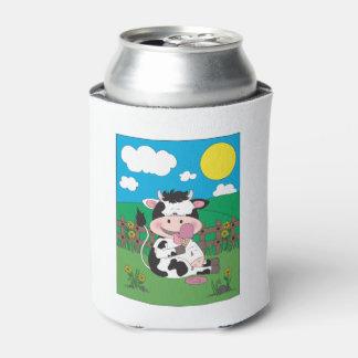 Bande dessinée mignonne de vache à bébé avec son rafraichisseur de cannettes