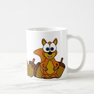 Bande dessinée mignonne d'écureuil mug blanc