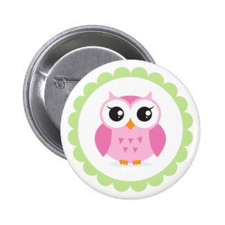 Bande dessinée rose mignonne de hibou à l'intérieu badge rond 5 cm