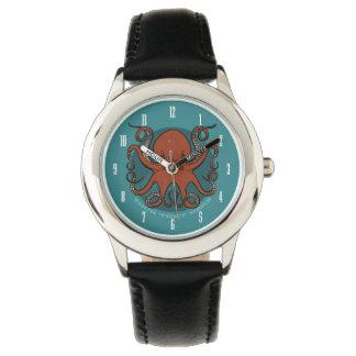 Bande dessinée rouge féroce de tentacules de montres bracelet