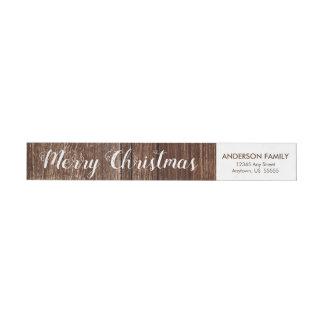 Bande Pour Adresse De Retour Adresse de retour rustique de Joyeux Noël en bois