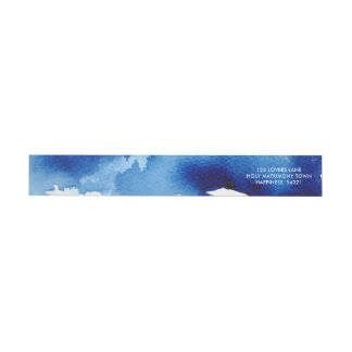 Bande Pour Adresse De Retour Adresse foncée chic de bleu marine d'AQUARELLE