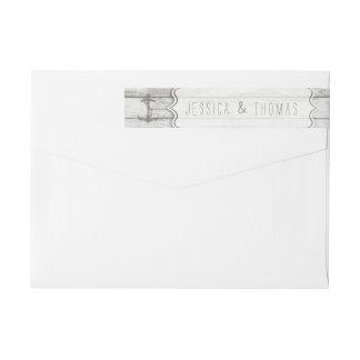 Bande Pour Adresse De Retour Collection en bois blanchie nautique de mariage de