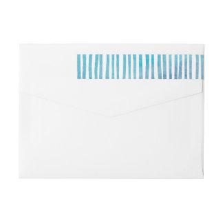 Bande Pour Adresse De Retour Enrouler bleu de rayures d'aquarelle autour des