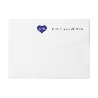 Bande Pour Adresse De Retour Épouser blanc moderne d'initiales de coeur de bleu