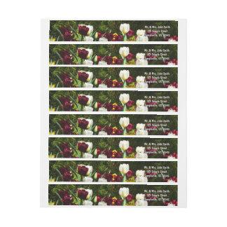 Bande Pour Adresse De Retour Floral coloré de tulipes marron et jaunes