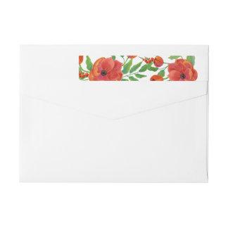 Bande Pour Adresse De Retour Mariage floral de pivoines rouges