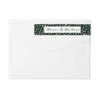 Bande Pour Adresse De Retour Mariage vert et blanc de motif de point de polka