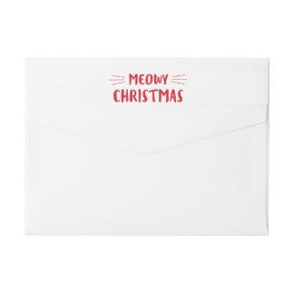Bande Pour Adresse De Retour Vacances mignonnes de chat de Noël | de Meowy