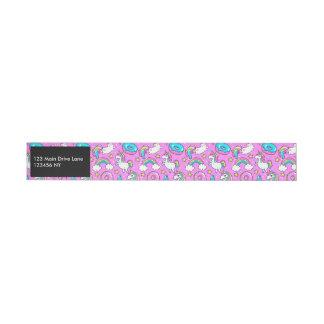 Bande Pour Adresse Licorne et minou drôles scintillants Kitschy roses