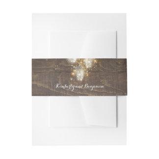 Bandeau De Faire-part La luciole de pot de maçon allume le bois rustique