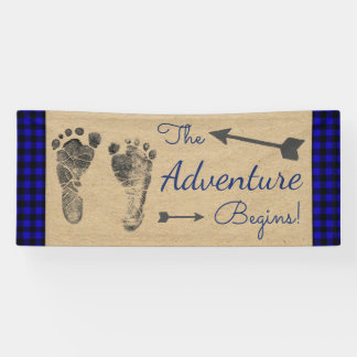 Banderoles Baby shower bleu de plaid de Buffalo de bûcheron