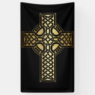 Banderoles Croix celtique de noeud dans l'or et le noir