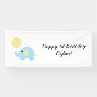 Banderoles éléphant de bébé bleu avec le ballon