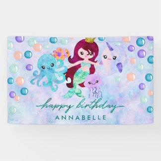 Banderoles Joyeux anniversaire d'océan d'animaux de thème