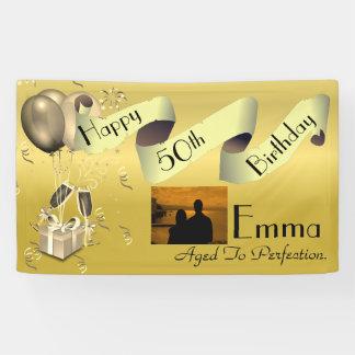 Banderoles Joyeux cinquantième anniversaire personnalisé