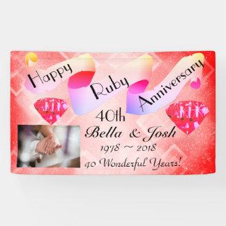 Banderoles Quarantième anniversaire de mariage heureux
