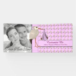 Banderoles Rose classique 2 de la cigogne (bébé sur le