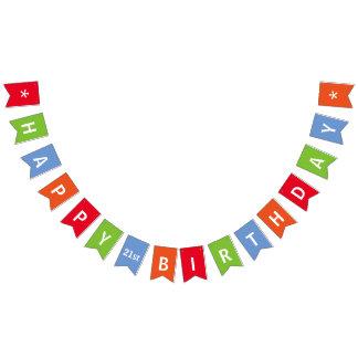 Bannière À Fanions Coloré de joyeux anniversaire personnalisé