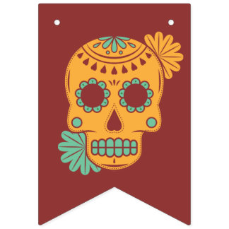 Bannière À Fanions Dia De Los Muertos. Jour des morts. Crâne de sucre
