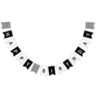 Bannière À Fanions Joyeux anniversaire noir et blanc