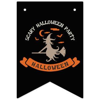 Bannière À Fanions Partie effrayante de Halloween. Sorcière dans un
