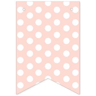 Bannière À Fanions Points blancs chics minables sur le fond rose