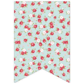 Bannière À Fanions Roses chics minables de ressort. Fleurs