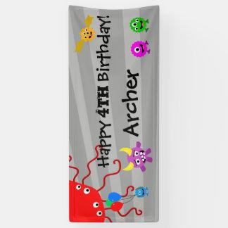 Bannière de fête d'anniversaire de monstre