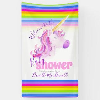 Bannière de licorne d'arc-en-ciel de baby shower
