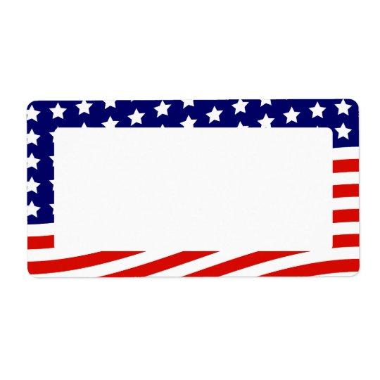 Bannière étoilée drapeau américain 4 juillet étiquettes d'expédition