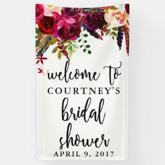 Bannière florale d'accueil de guirlande de douche