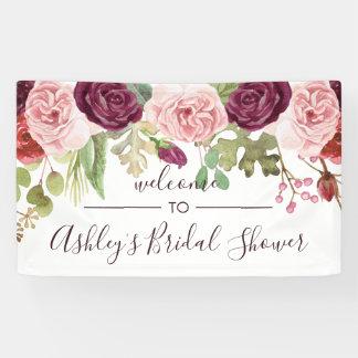 Bannière romantique d'accueil de douche de fleurs