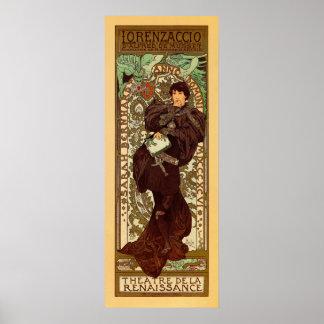 Bannière vintage de verticale d'Alphonse Mucha