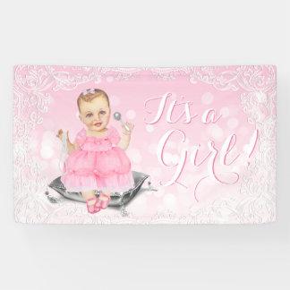 Bannière vintage grise rose de baby shower de bébé