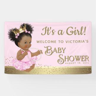 Bannières roses de princesse baby shower d'or